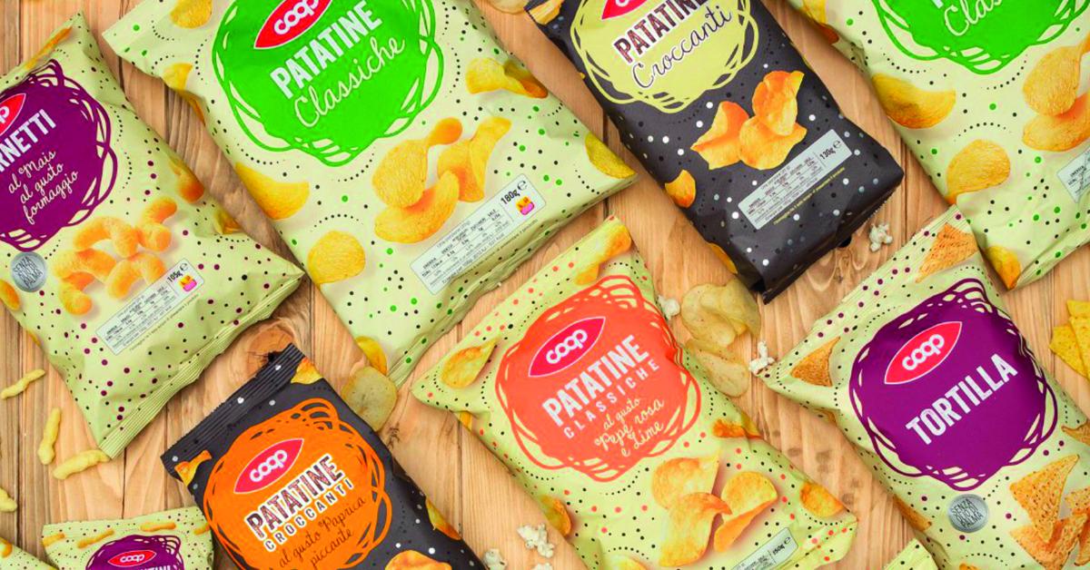 Nuova identità visiva snack salati e frutta secca Coop